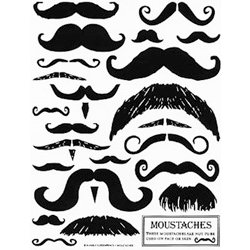 Hambly Studios - Screen Prints - Hand Silk Screened Rub-Ons - Moustaches - Black, CLEARANCE