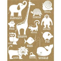 Hambly Studios - Screen Prints - Hand Silk Screened Rub-Ons - Classic Animals - White