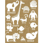 Hambly Studios - Screen Prints - Hand Silk Screened Rub-Ons - Classic Animals - White