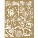 Hambly Studios - Screen Prints - Hand Silk Screened Rub Ons - Flowers and Feathers - Antique White, CLEARANCE