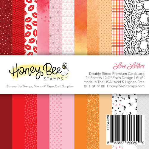 Honey Bee Stamps - Love Letters Collection - 6 x 6 Paper Pad