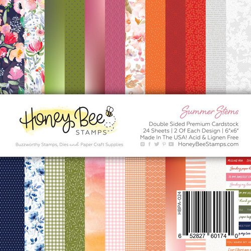 Honey Bee Stamps - Summer Stems Collection - 6 x 6 Paper Pad - Summer Stems