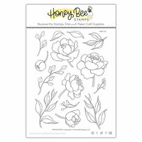 Honey Bee Stamps - Clear Photopolymer Stamps - Spring Peony