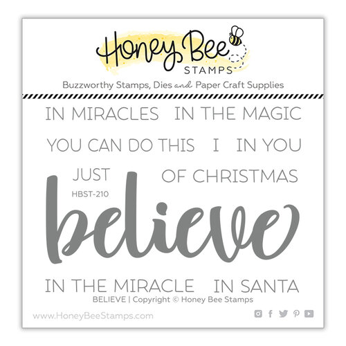 Honey Bee Stamps - Christmas - Clear Photopolymer Stamps - Believe