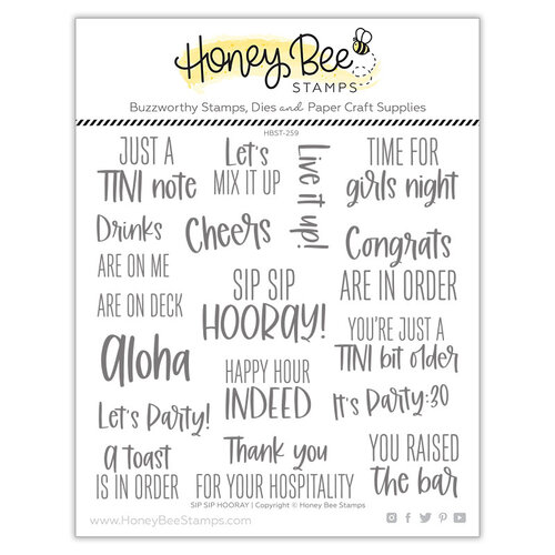 Honey Bee Stamps - Paradise Collection - Clear Photopolymer Stamps - Sip Sip Hooray