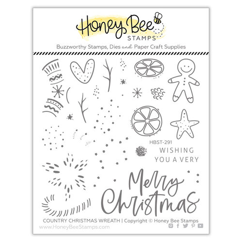 Honey Bee Stamps - Clear Photopolymer Stamps - Country Christmas Wreath