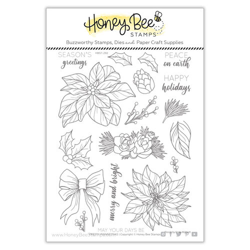 Honey Bee Stamps - Clear Photopolymer Stamps - Pretty Poinsettias