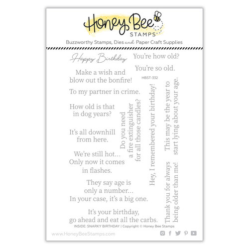 Honey Bee Stamps - Let's Celebrate Collection - Clear Photopolymer Stamps - Inside Snarky Birthday Sentiments
