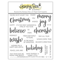 Honey Bee Stamps - Vintage Holiday Collection - Clear Photopolymer Stamps - Bitty Buzzwords - Holiday