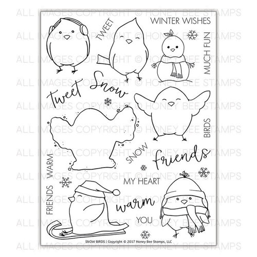 Honey Bee Stamps - Christmas - Clear Acrylic Stamps - Snow Birds