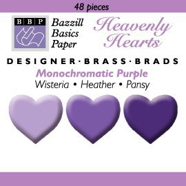 Happy Hammer Bazzill Basics Mini Brads - Heavenly Hearts - Purples