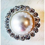 Melissa Frances - Vintage Jeweled Brooch - Round Romantic Pearl
