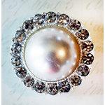 Melissa Frances - Vintage Jeweled Brooch - Round Romantic Pearl