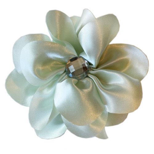 Melissa Frances - Vintage Jeweled Flower - Pale Green Satin Flower