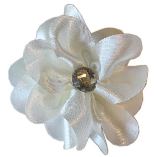 Melissa Frances - Vintage Jeweled Flower - White Satin Flower