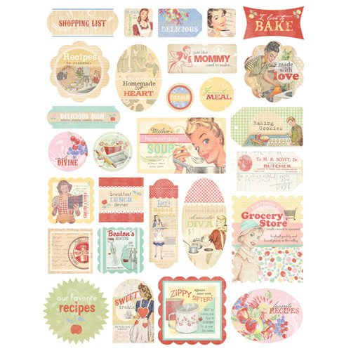 Melissa Frances - Kitschy Kitchen Collection - Cardstock Stickers - Retro
