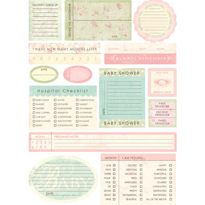 Melissa Frances - Heart and Home - Designer Stickers - Pregnancy Prompt - Journal
