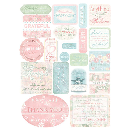 Melissa Frances - Heart and Home - Thankful Collection - Cardstock Stickers - Thankful, CLEARANCE