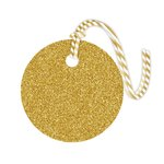 Hampton Art - Tags with Twine - Round - Glitter