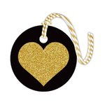 Hampton Art - Tags with Twine - Round - Glitter - Heart