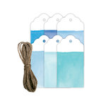 Hampton Art - Tags with Twine - Watercolor - Blue
