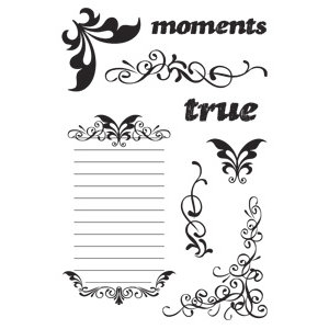 Hampton Art - Post Script Clear Stamps - by Kolette Hall - Journal Flourishes, CLEARANCE