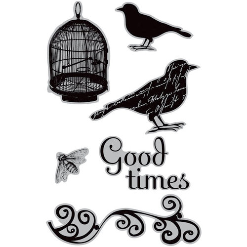 Hampton Art - 7 Gypsies - Cling Mounted Rubber Stamps - Bird Song