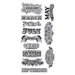 Hampton Art - 7 Gypsies - Cling Mounted Rubber Stamps - Twelve Months
