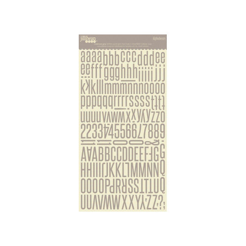 Jillibean Soup - Alphabeans Collection - Alphabet Cardstock Stickers - Mushroom Gray