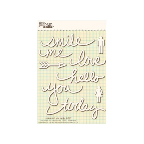 Jillibean Soup - Wise Words - Cardstock Stickers - Smile - White