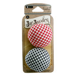 Hampton Art - Jar Jewelry Collection - Pin Cushion Jar Lids - Red and Navy Gingham