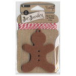 Hampton Art - Jar Jewelry - Christmas - Felt Tag with Twine - Gingerbread Man