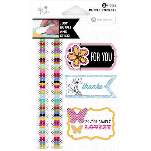 KI Memories - Mini Celebrations Collection - Ruffles - Layered and Stitched Cardstock Stickers - Simply Lovely