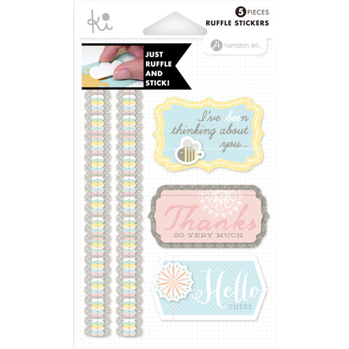 KI Memories - Mini Celebrations Collection - Ruffles - Layered and Stitched Cardstock Stickers - Spring Fever