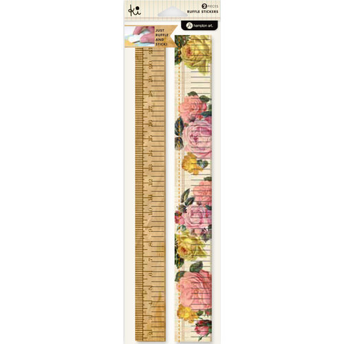 KI Memories - Vintage Charm Collection - Ruffles - Layered and Stitched Cardstock Stickers - Roses Border