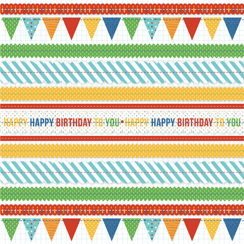 KI Memories - Mini Celebrations Collection - 12 x 12 Ruffle Paper - Birthday Banners