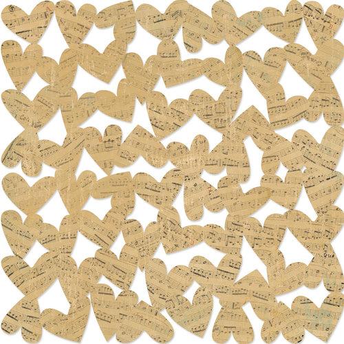 KI Memories - Vintage Charm Collection - 12 x 12 Die Cut Lace Paper - Musical Hearts