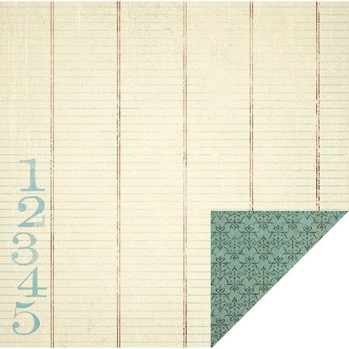 KI Memories - Vintage Charm Collection - 12 x 12 Double Sided Paper - Blue Ledger