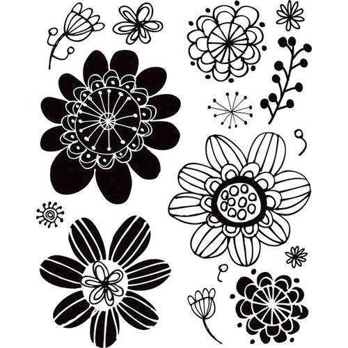 Hampton Art - Hot Fudge Studio - Wood Mounted Stamps - Flower Background