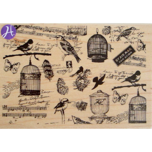Hampton Art - 7 Gypsies - Wood Mounted Stamps - Bird Watching