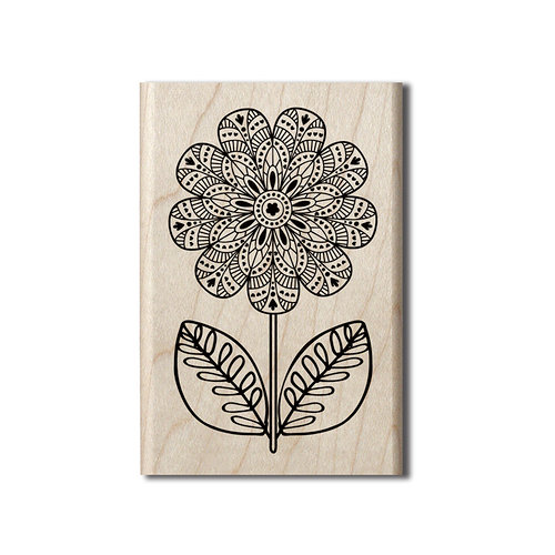 Hampton Art - Wood Mounted Stamps - Coloring Flower