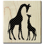 Hampton Art - Wood Mounted Stamps - Giraffe with Baby