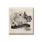 Hampton Art - Wood Mounted Stamps - Congratulations Flowers