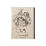 Hampton Art - Wood Mounted Stamps - Hello Flowers
