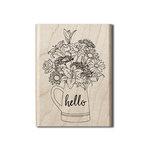 Hampton Art - Wood Mounted Stamps - Hello Flowers