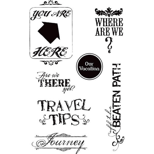 Hampton Art - 7 Gypsies - Clear Acrylic Stamps - Travel Tips
