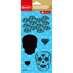 Hampton Art - Stencil 1 - Clear Acrylic Stamps - Day of the Dead Skulls and Roses