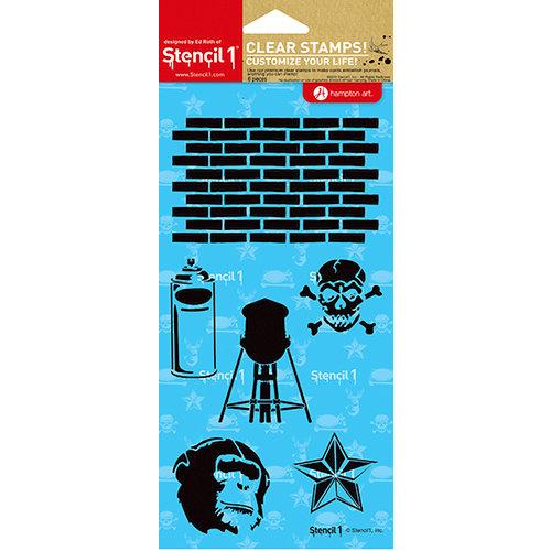 Hampton Art - Stencil 1 - Clear Acrylic Stamps - Graffiti