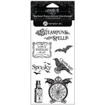 Graphic 45 - Hampton Art - Steampunk Spells Collection - Clear Acrylic Stamps - Steampunk Spells - Four
