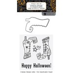 Hampton Art - Halloween Collection - Designer Die and Clear Acrylic Stamps Set - Bootiful